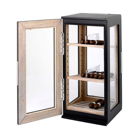 Dogwood Electronic Humidor Cabinet | Matte Black Display Glass - Shades of Havana