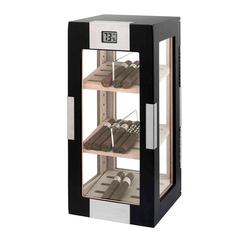 Image of Dogwood Electronic Humidor Cabinet | Matte Black Display Glass - Shades of Havana