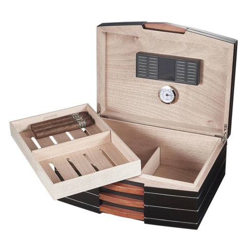 Gerard Black Humidor 100 Cigar Count | Cedar Lined - Shades of Havana