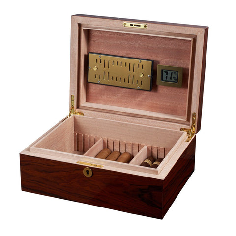 Image of Hagan Oak Humidor 50 Cigar Count | Lock & Key - Shades of Havana