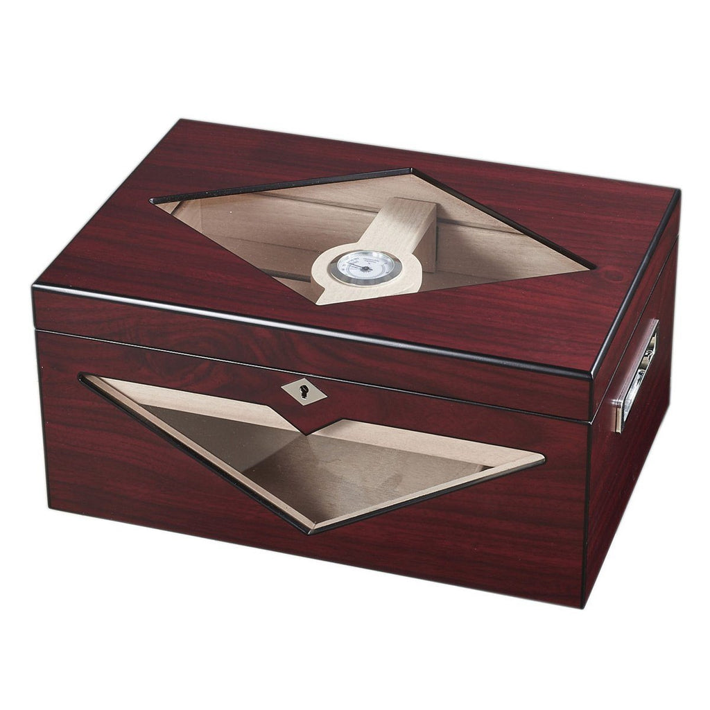 Hudson Red Antique Wood Stain Humidor 200 Cigar Count - Shades of Havana