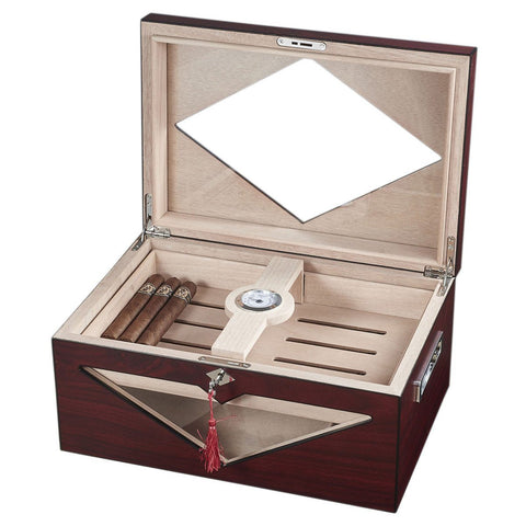 Image of Hudson Red Antique Wood Stain Humidor 200 Cigar Count - Shades of Havana