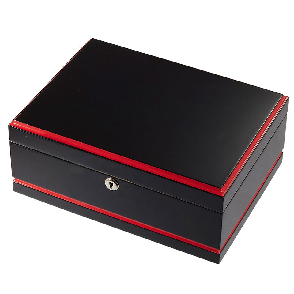 Hydra Black & Red Humidor 75 Cigar Count - Shades of Havana
