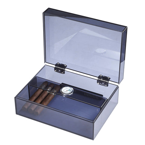 Leo Acrylic Humidor 50 Cigar Count | Navy Blue - Shades of Havana