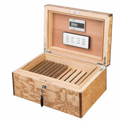 Liberty Birdseye Wood Humidor 100 Cigar Count | Luxury Maple Finish