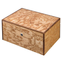 Liberty Birdseye Wood Humidor 100 Cigar Count | Luxury Maple Finish - Shades of Havana