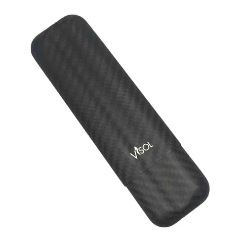 Night Carbon Fiber Matte 2 Finger Cigar Case - Shades of Havana