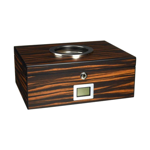 Image of Porthole Glass Top Electronic Humidor 75 Cigar Count | Ebony - Shades of Havana