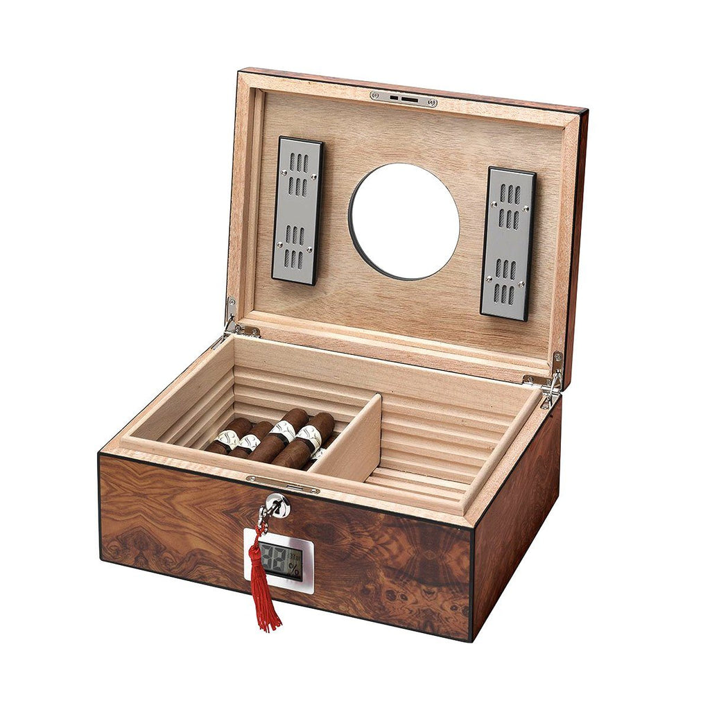 Porthole Glass Top Electronic Humidor 75 Cigar Count | Ebony - Shades of Havana