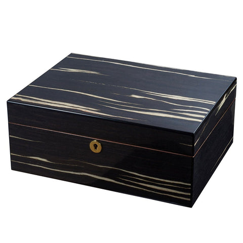 Image of Remo Black Humidor 50 Cigar Count | Ashburl Wood - Shades of Havana