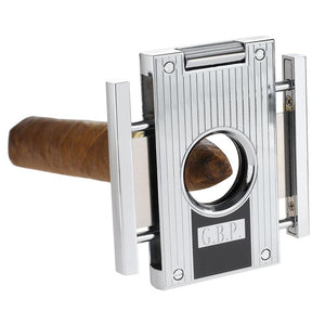 Sharp Lines Chrome Cigar Guillotine Cutter - Shades of Havana