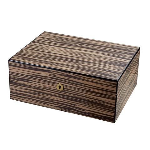 Warrick Zebrawood Humidor 50 Cigar Count with Lock & Key