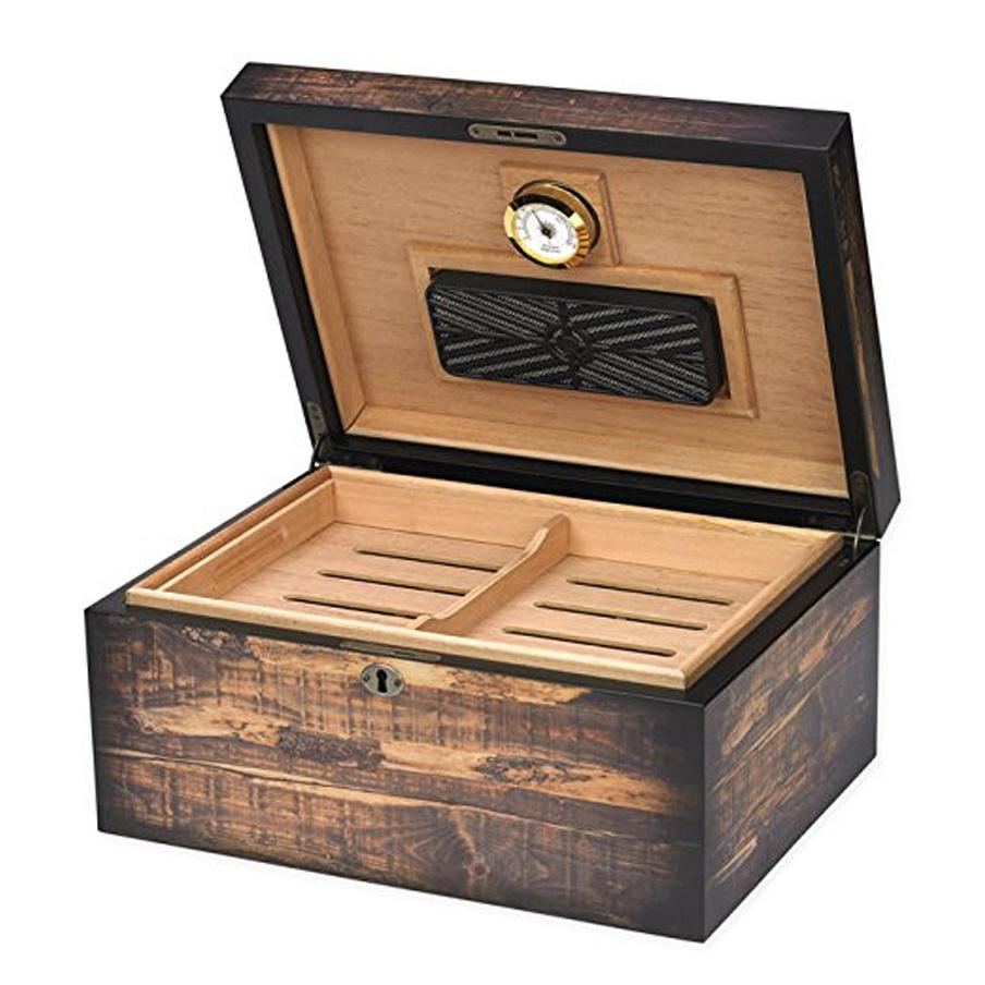 Adirondack 100 Count Humidor Reclaimed Wood Look - Shades of Havana