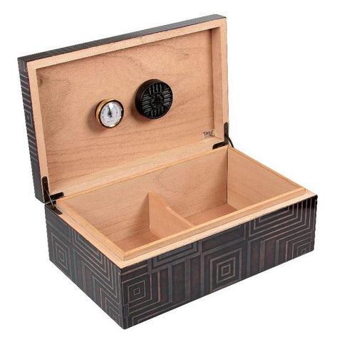 Azteca 75 Cigar Count Humidor | Antique Geometric Pattern