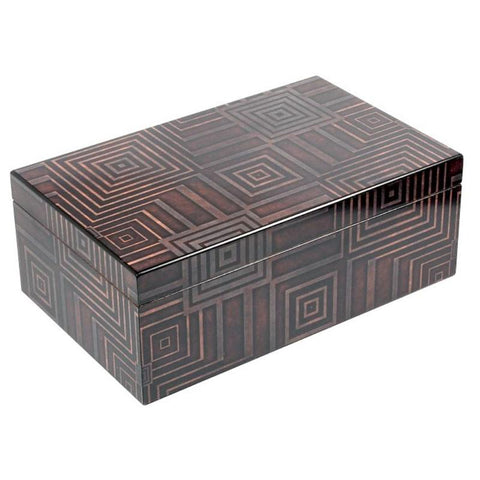 Azteca 75 Cigar Count Humidor | Antique Geometric Pattern - Shades of Havana