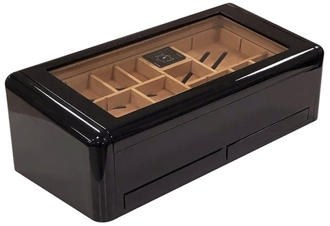 Baldwin Jet Black High Gloss Humidor - 150 Cigar Count - Shades of Havana