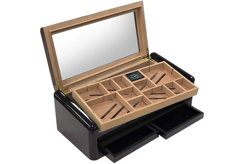 Baldwin Jet Black High Gloss Humidor - 150 Cigar Count