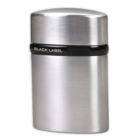 Black Label Tornado Single Jet Flame Lotus Lighter - Brushed Chrome & Black - Shades of Havana