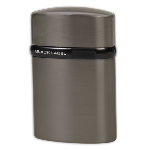 Black Label Tornado Single Jet Flame Lotus Lighter - Brushed Chrome & Black