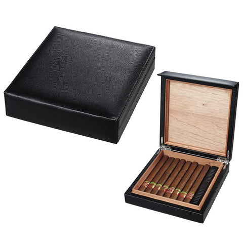 Black Leather Cigar Humidor Holds 16 Cigars - Visol - Shades of Havana