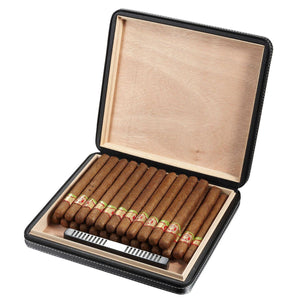 Black Leather Travel Humidor - Shades of Havana