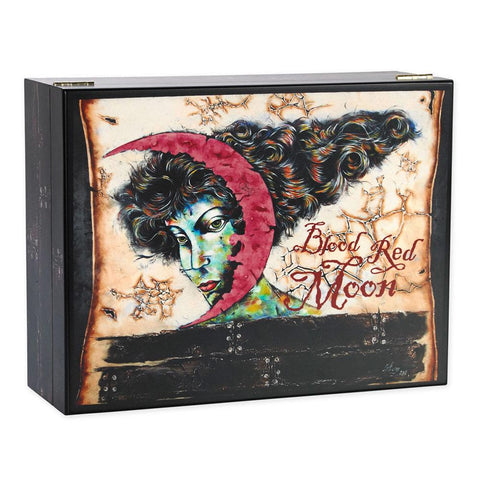 Image of Blood Red Moon Humidor 100 Cigar Count with Brand Art - Shades of Havana