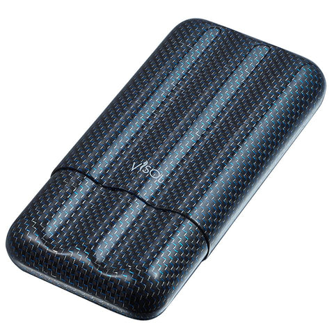 Carbon Fiber Cigar Case | 3 Finger Blue Kevlar - Shades of Havana