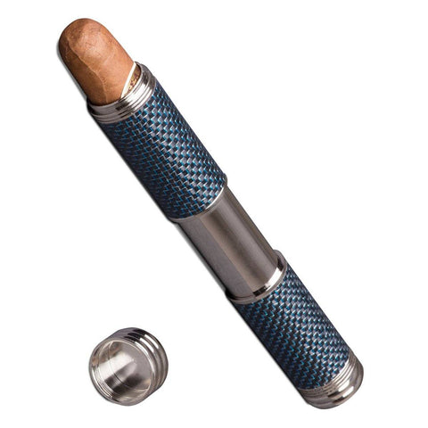Image of Carbon Fiber 1 Cigar Tube 54 Ring Gauge | Blue Kevlar - Shades of Havana