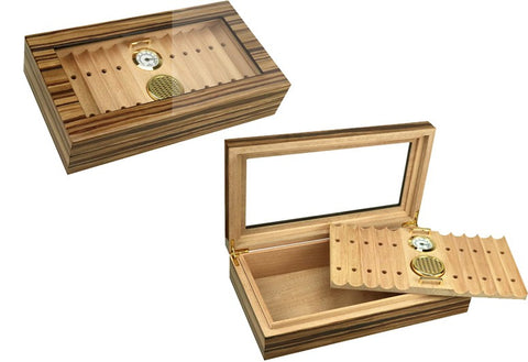 Image of Braydon Glasstop Humidor - 35 Cigar Count - Shades of Havana