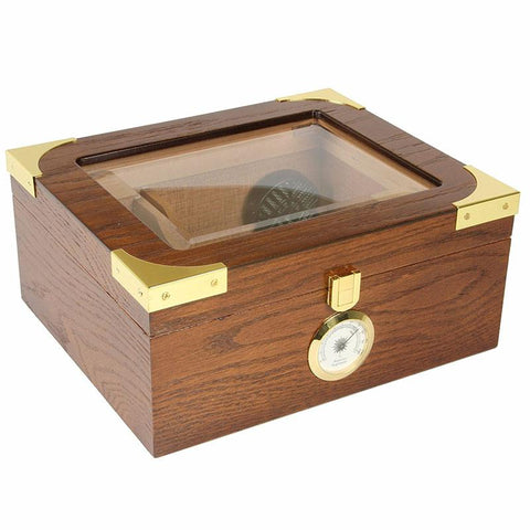 Image of Capri Elegant Glass Top Humidor 25-50 Cigar Count - Shades of Havana