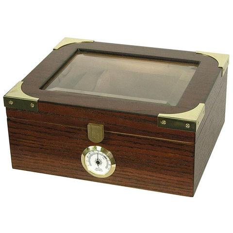 Capri Elegant Glass Top Humidor 25-50 Cigar Count - Shades of Havana