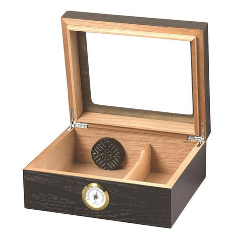 Capri Glass Top Humidor 25-50 Cigar Count | Black Oak - Shades of Havana