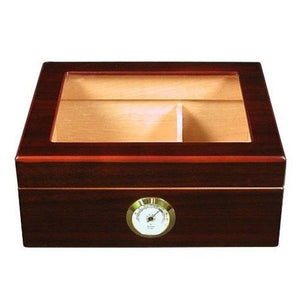 Capri Glass Top Humidor With Front Mount Hygrometer | 25-50 Cigar Count - Shades of Havana