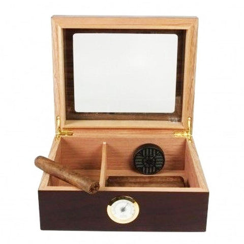 Image of Capri Glass Top Humidor With Front Mount Hygrometer | 25-50 Cigar Count - Shades of Havana
