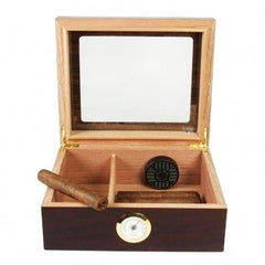 Capri Glass Top Humidor With Front Mount Hygrometer | 25-50 Cigar Count