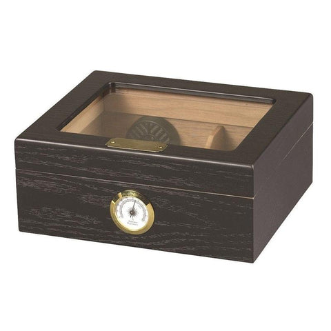 Image of Capri Glass Top Humidor 25-50 Cigar Count | Black Oak - Shades of Havana