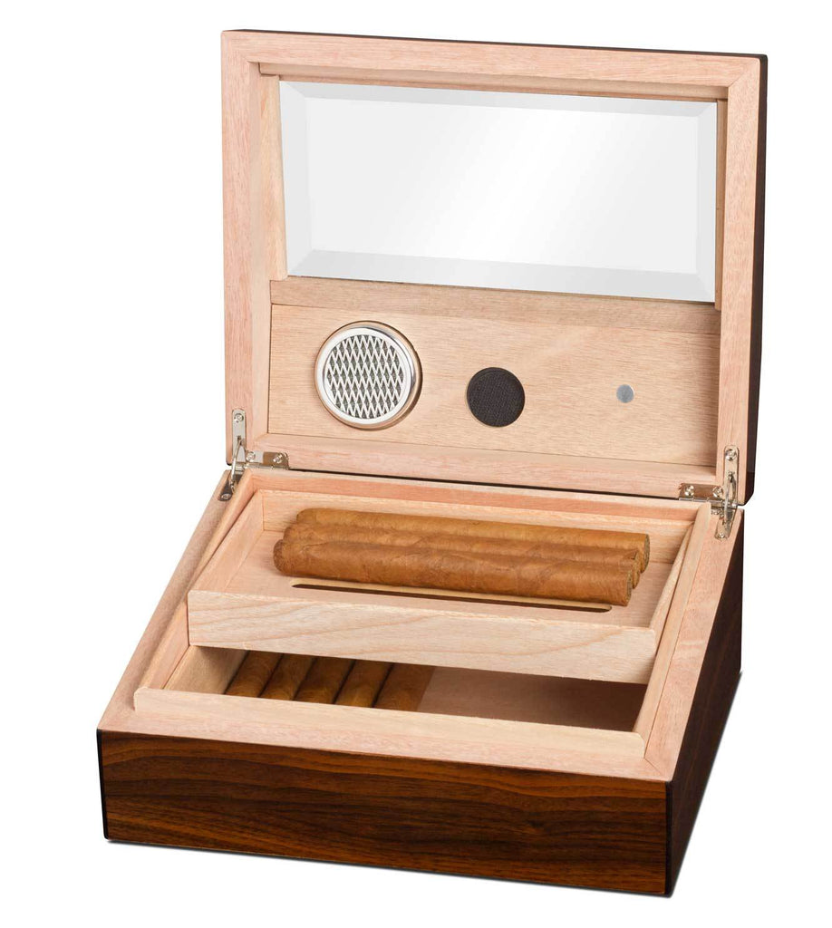 Captain Glass Top Humidor 40 Cigar Count | Walnut Finish - Shades of Havana