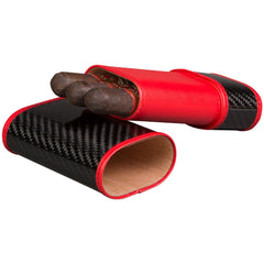 Carbon Fiber and Red - 3 Finger Cigar Case - Tonino Lamborghini