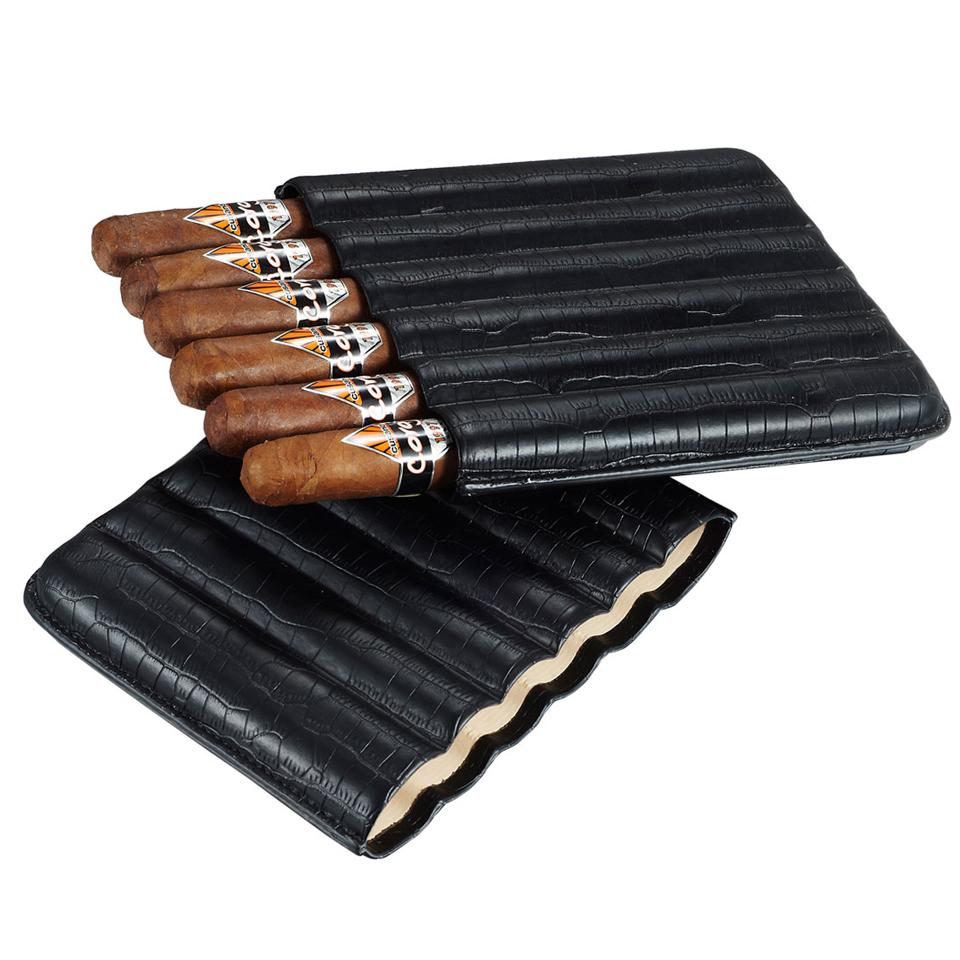 Cardona Black Leather 6 Cigar Case - Shades of Havana