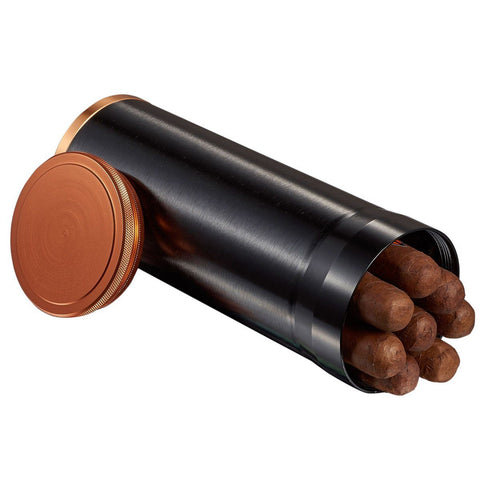 Image of Carlos Travel Humidor Tube 7 Cigar Count | Black with Copper Rim - Shades of Havana