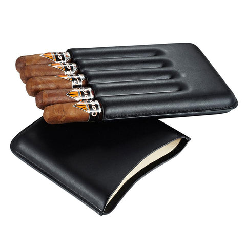 Image of Carmora Black Leather 5 Cigar Case - Shades of Havana