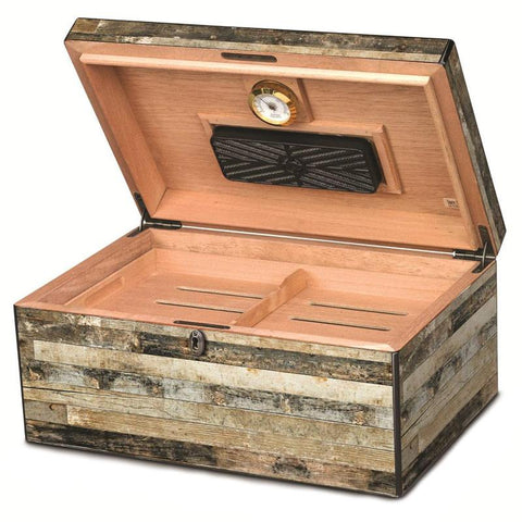 Image of Carolina Rustic Wood Humidor - 125 Cigar Capacity - Shades of Havana