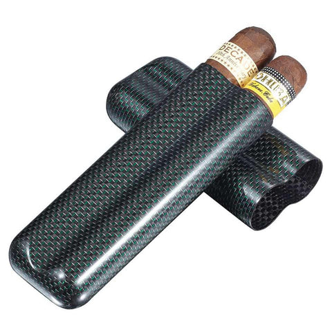 Image of Cartenium 2 Finger Carbon Fiber Cigar Case Titanium - Shades of Havana