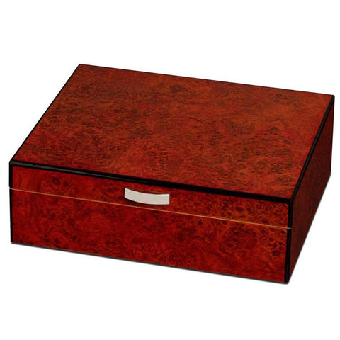 Image of Cedrik Wood Small Humidor 25 Cigars | Polished Burl Finish - Shades of Havana
