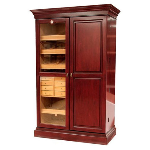 Image of Wine Bar & Cigar Cabinet Humidor - Wine Rack - 3000 Cigars