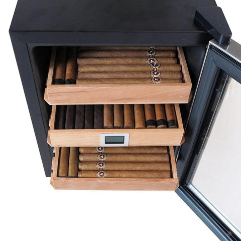 Clevelander Electronic Humidor Cabinet - Holds 250 Cigars - Electric Humidifier