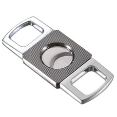 Cortez - Grid Design Double Guillotine Cigar Cutter - Chrome - Visol - Shades of Havana