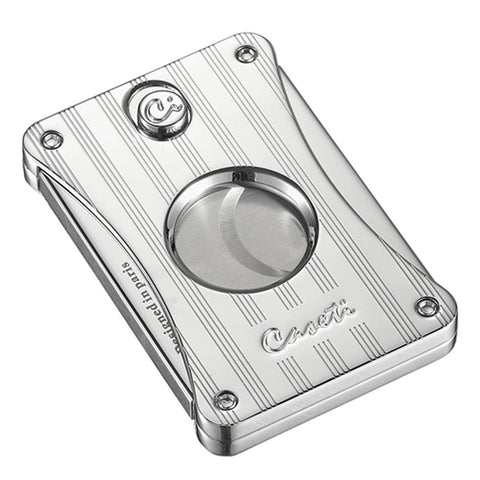 Image of Dion - Engine Turned Chrome Cigar Cutter - Caseti - Shades of Havana
