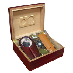 Diplomat - Cherry Cigar Humidor Gift Set - 25 to 50 Cigars - Prestige Import Group