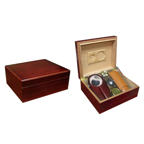 Image of Diplomat Cherry Humidor Kit 25 to 50 Cigar Count - Shades of Havana